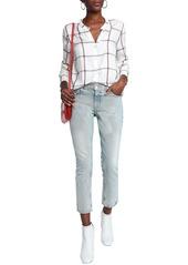 Current/elliott Woman Cropped Mid-rise Straight-leg Jeans Light Denim