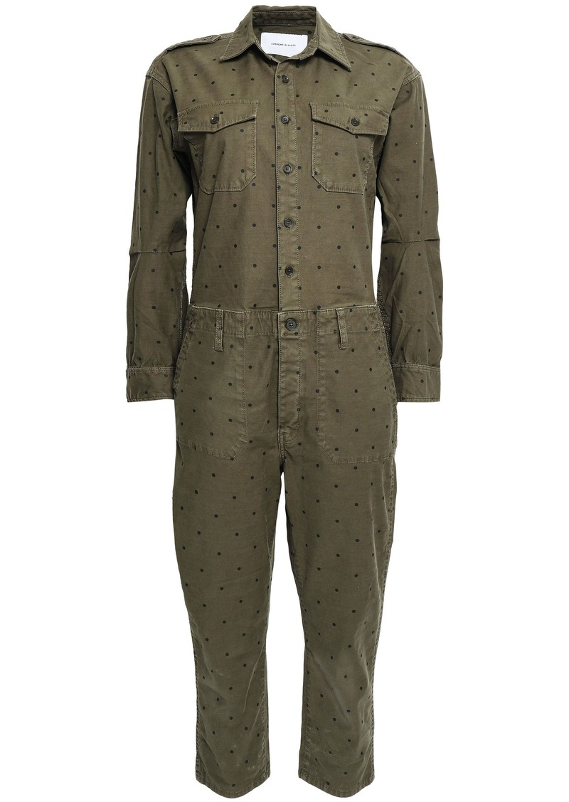 Current/elliott Woman The Crew Cropped Polka-dot Stretch-cotton Jumpsuit Army Green