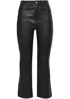 Current/elliott Woman Cropped Stretch-leather Bootcut Pants Black