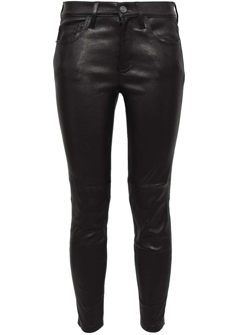 Current/elliott Woman Cropped Stretch-leather Skinny Pants Black