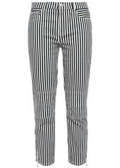 Current/elliott Woman Cropped Striped Mid-rise Slim-leg Jeans Blue