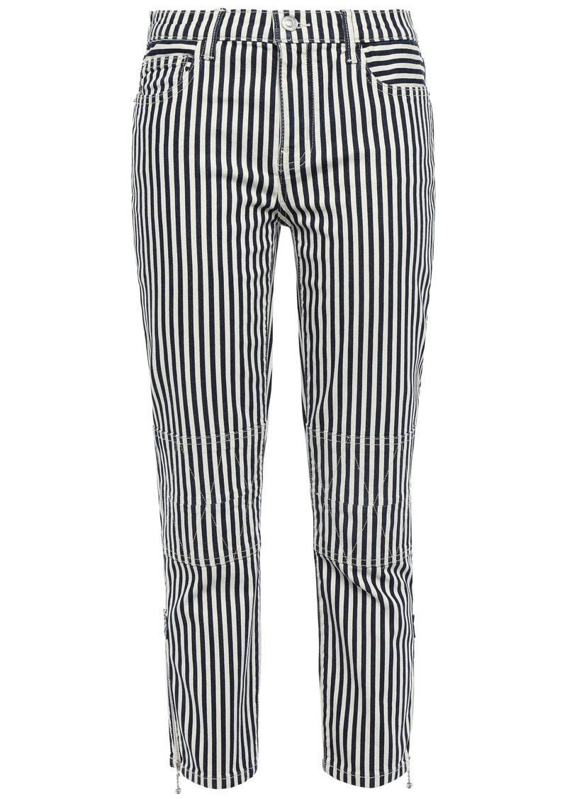 Current/elliott Woman Cropped Striped Mid-rise Slim-leg Jeans Blue