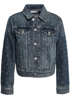 Current/elliott Woman Cropped Studded Denim Jacket Mid Denim