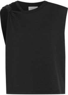 Current/elliott Woman Cutout Knotted Cotton-jersey Tank Black