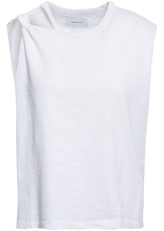 Current/elliott Woman Cutout Knotted Cotton-jersey Tank White