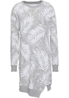 Current/elliott Woman Cutout Printed French Cotton-blend Terry Mini Dress Light Gray