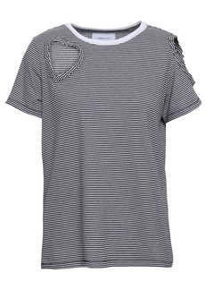 Current/elliott Woman Cutout Striped Cotton-blend Jersey T-shirt Black