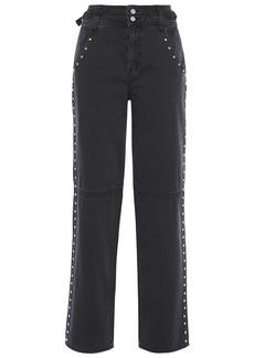 Current/elliott Woman Debbie Studded High-rise Straight-leg Jeans Black