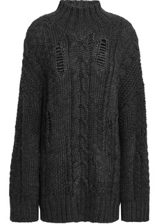 Current/elliott Woman Distressed Cable-knit Turtleneck Sweater Anthracite