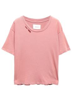 Current/elliott Woman The Short Cg Distressed Cotton-jersey T-shirt Antique Rose