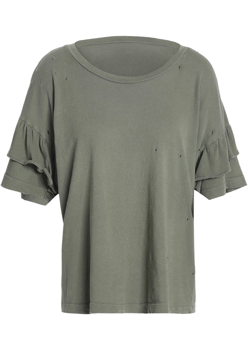 Current/elliott Woman Distressed Cotton-jersey Top Army Green