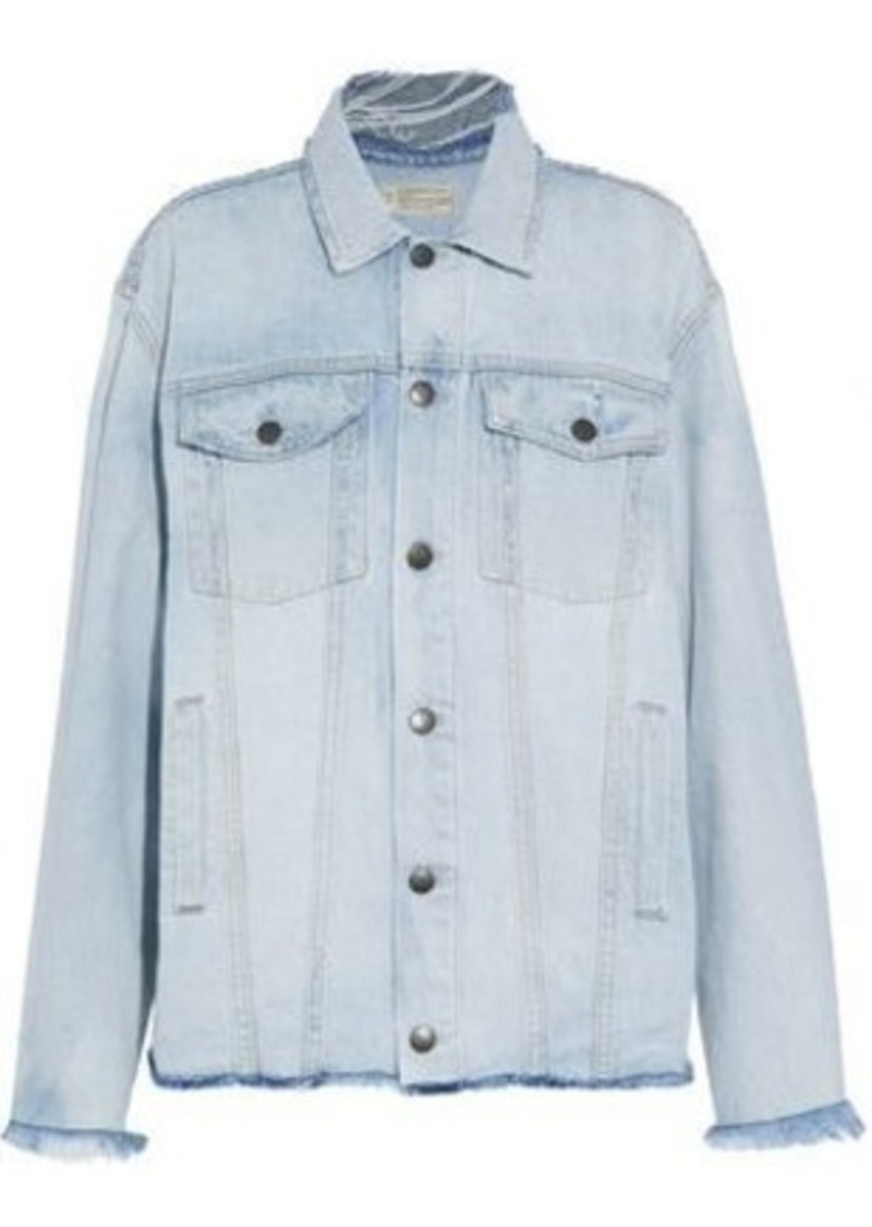 Current/elliott Woman Distressed Denim Jacket Light Denim