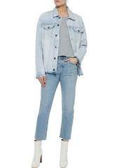 Current/elliott Woman Distressed Denim Jacket Light Denim