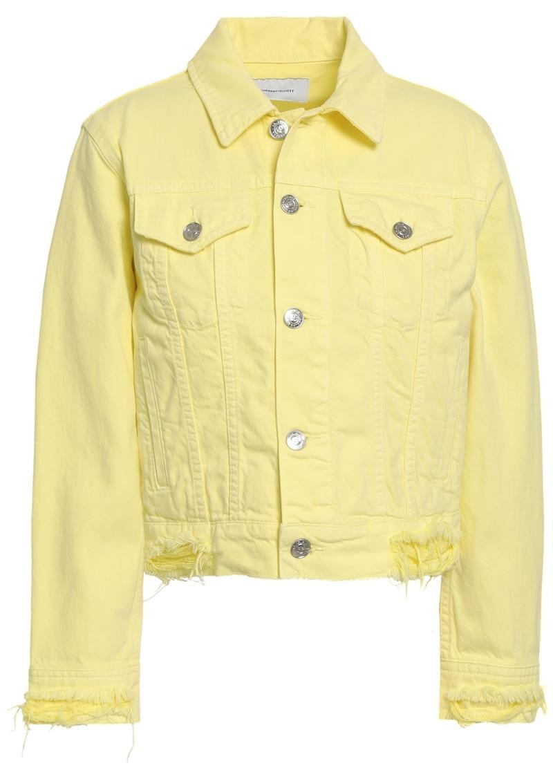 Current/elliott Woman Distressed Denim Jacket Pastel Yellow