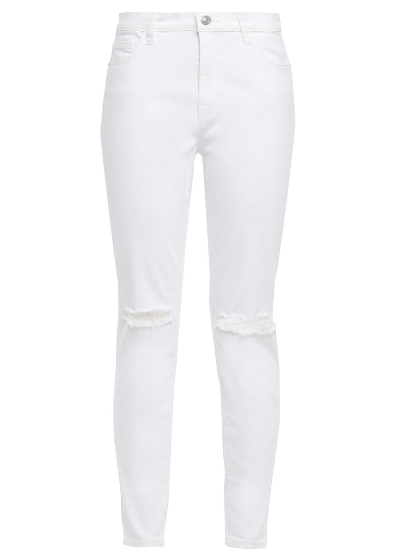 Current/elliott Woman Distressed High-rise Skinny Jeans White