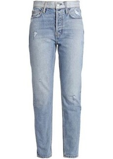 Current/elliott Woman Distressed High-rise Slim-leg Jeans Light Denim