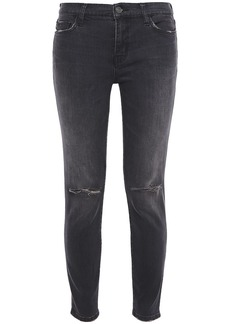 Current/elliott Woman Distressed Mid-rise Skinny Jeans Charcoal