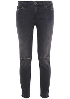 Current/elliott Woman Distressed Mid-rise Skinny Jeans Charcoal