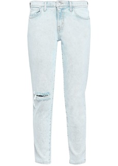 Current/elliott Woman Distressed Mid-rise Skinny Jeans Light Denim
