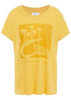 Current/elliott Woman Distressed Printed Cotton-jersey T-shirt Saffron