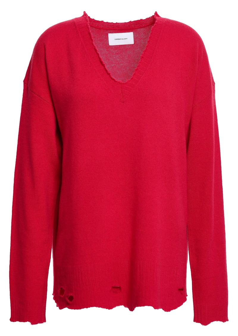 Current/elliott Woman Distressed Wool And Cashmere-blend Sweater Crimson