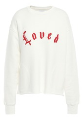 Current/elliott Woman Embroidered French Cotton-terry Sweatshirt Off-white