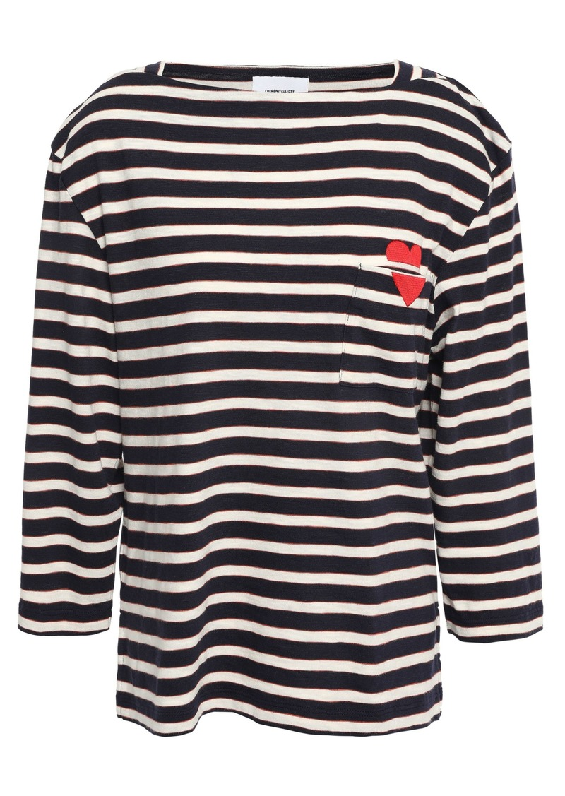 Current/elliott Woman Embroidered Striped Cotton-jersey Top Navy