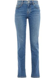 Current/elliott Woman Faded High-rise Slim-leg Jeans Mid Denim