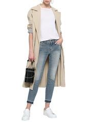 Current/elliott Woman Faded Mid-rise Skinny Jeans Light Denim