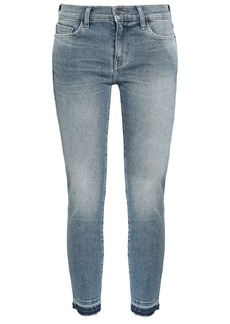 Current/elliott Woman Faded Mid-rise Skinny Jeans Light Denim