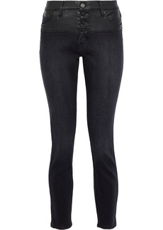 Current/elliott Woman Faux Leather-paneled Distressed Denim High-rise Skinny Jeans Black