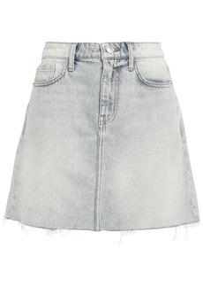 Current/elliott Woman Frayed Faded Denim Mini Skirt Light Denim