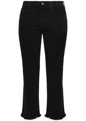 Current/elliott Woman Frayed Mid-rise Kick-flare Jeans Black