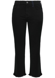 Current/elliott Woman Frayed Mid-rise Kick-flare Jeans Black