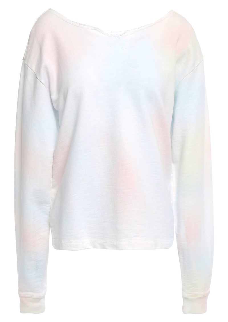 Current/elliott Woman Frayed Tie-dyed French Cotton-terry Sweatshirt Pastel Pink