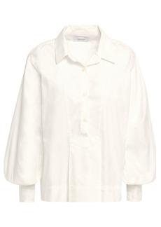 Current/elliott Woman Gathered Cotton-poplin Blouse White