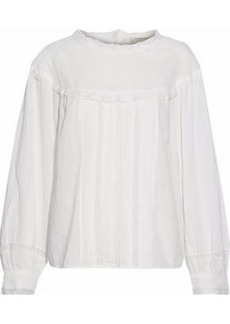 Current/elliott Woman Lace-trimmed Pintucked Cotton-gauze Top Ivory