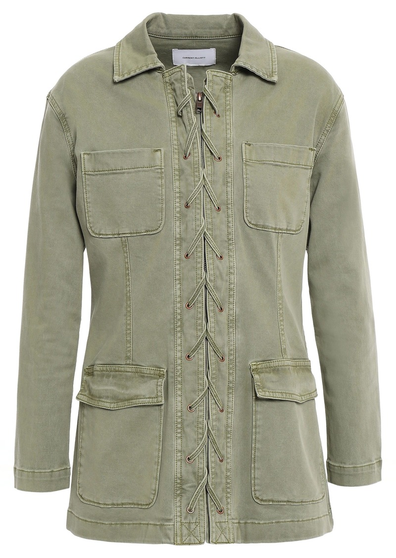 Current/elliott Woman Lace-up Cotton-blend Twill Jacket Army Green