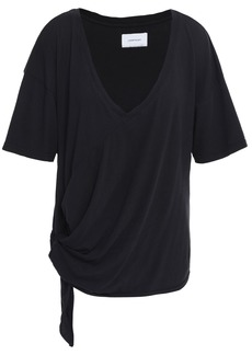Current/elliott Woman Lace-up Cotton-jersey T-shirt Black