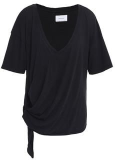 Current/elliott Woman Lace-up Cotton-jersey T-shirt Black
