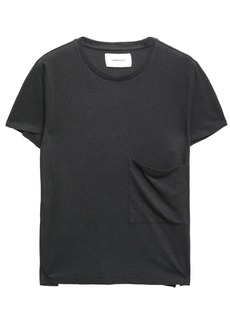 Current/elliott Woman Linen And Cotton-blend Jersey T-shirt Charcoal
