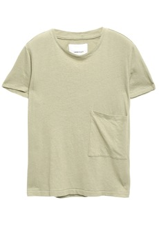 Current/elliott Woman Distressed Printed Linen And Cotton-blend T-shirt Sage Green