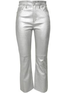 Current/elliott Woman Metallic Stretch-leather Kick-flare Pants Silver