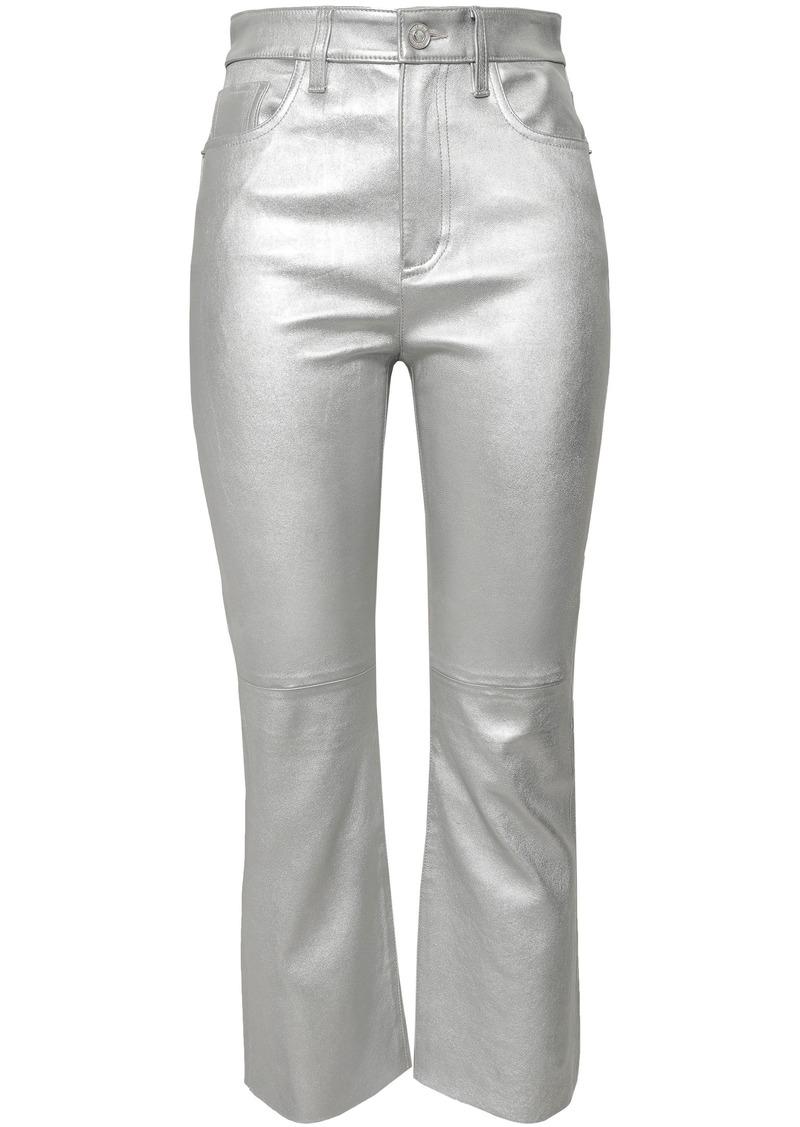 Current/elliott Woman Metallic Stretch-leather Kick-flare Pants Silver