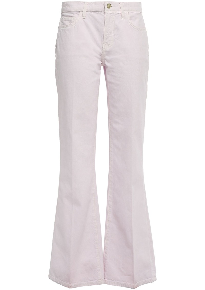 Current/elliott Woman Mid-rise Flared Jeans Pastel Pink