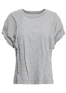 Current/elliott Woman Distressed Pintucked Cotton-jersey T-shirt Gray