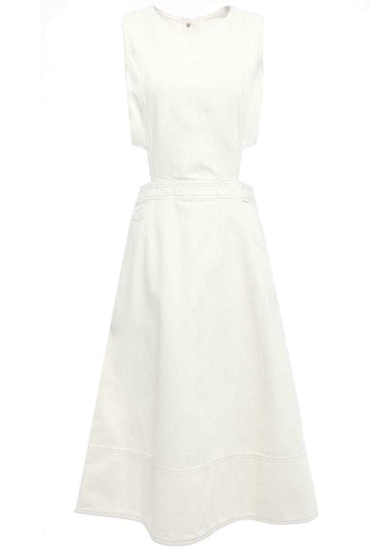 Current/elliott Woman Nightfall Cutout Denim Midi Dress Ivory