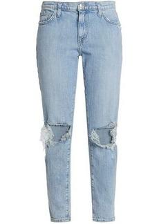 Current/elliott Woman Nova Distressed Mid-rise Slim-leg Jeans Light Denim
