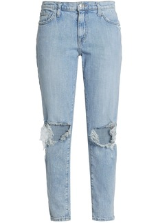 Current/elliott Woman Nova Distressed Mid-rise Slim-leg Jeans Light Denim