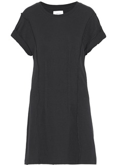 Current/elliott Woman Pintucked Distressed Cotton-jersey Mini Dress Black